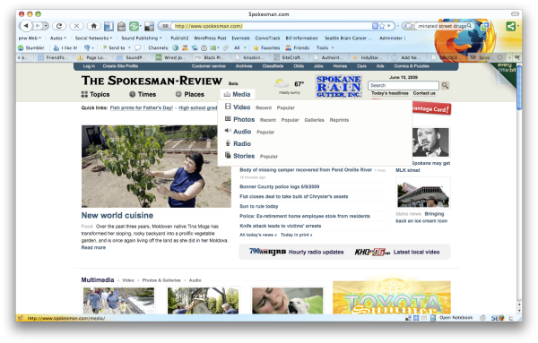 Spokesman.com home page navigation