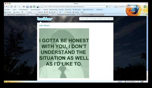 A screen shot of John Mayer's Twitter avatar on June 24.