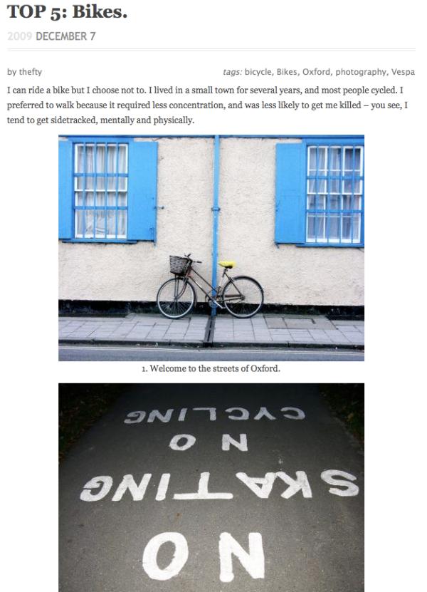 Top 5's post on bikes